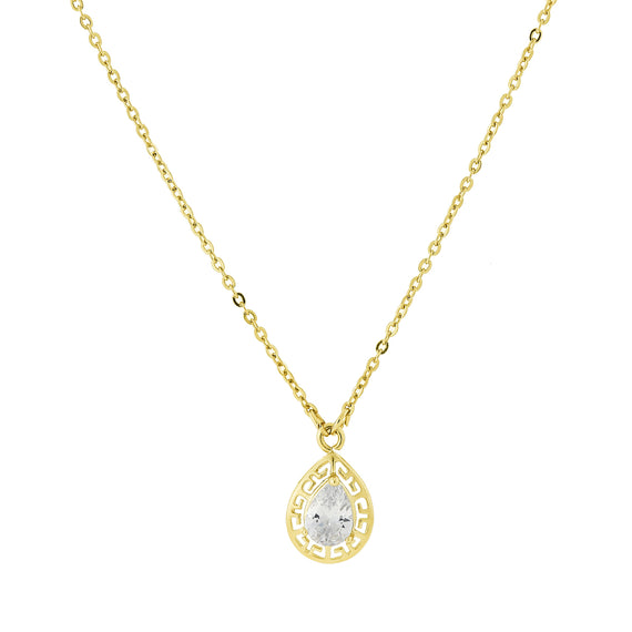 Fashion Jewelry - 14K Gold Dipped Pearshape Cubic Zirconia Pendant Necklace 16