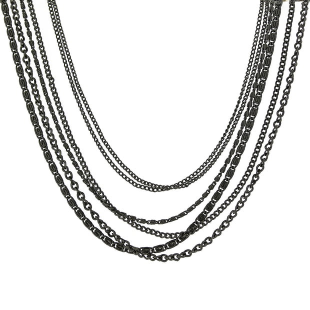 Black-Tone Multi-Chain Necklace 16 Adj.
