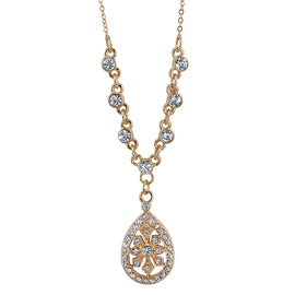 "Fashion Jewelry - Gold-Tone Crystal Filigree Teardrop Necklace 16""Adj."