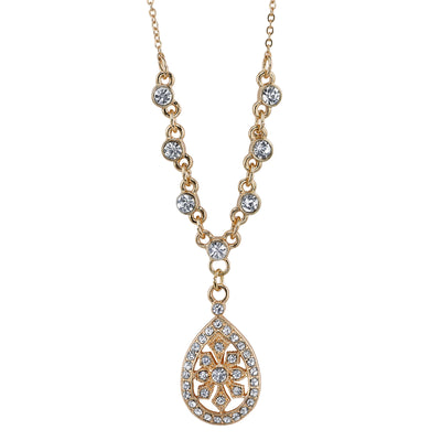 Gold-Tone Crystal Filigree Teardrop Necklace 16 - 19 Inch Adjustable