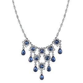1928 Jewelry: 1928 Jewelry - Silver-Tone Blue Bib Necklace 16 Adj.