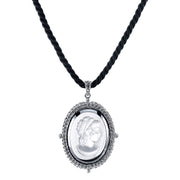 Silver Tone Hematite Color Cameo Pendant On Black Cord 16   19 Inch Adjustable