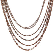 Antique Copper Tone Multi Chain Necklace 16   19 Inch Adjustable