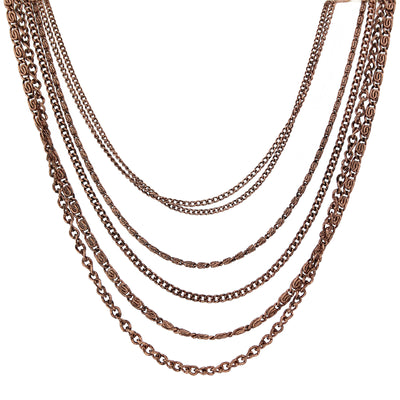 Antique Copper-Tone Multi-Chain Necklace 16 In Adj