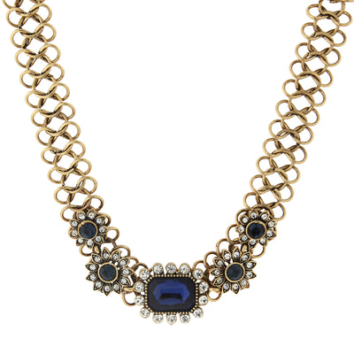 Burnished Gold Tone Blue Collar Statement Necklace With Crystal Accents 16   19 Inch Adjustable