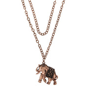 Antiqued Copper-Tone Elephant Pendant Necklace 15 In Adj