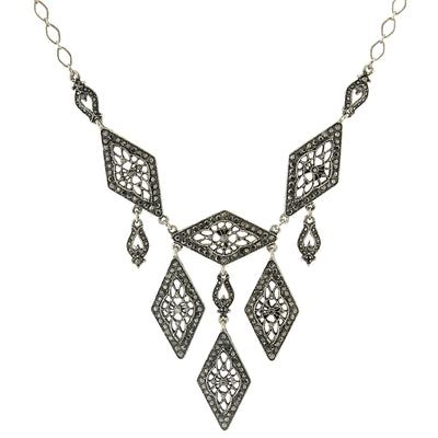 2028 Silver-Tone Hematite-Color Statement Bib Drop Necklace 16 Adj.