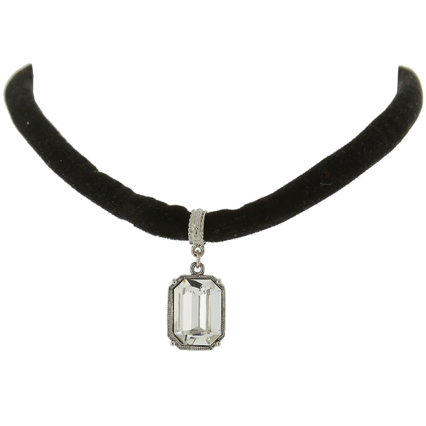 Black Velvet Choker Necklace With Swarovski Crystal Pendant 13 In Adj