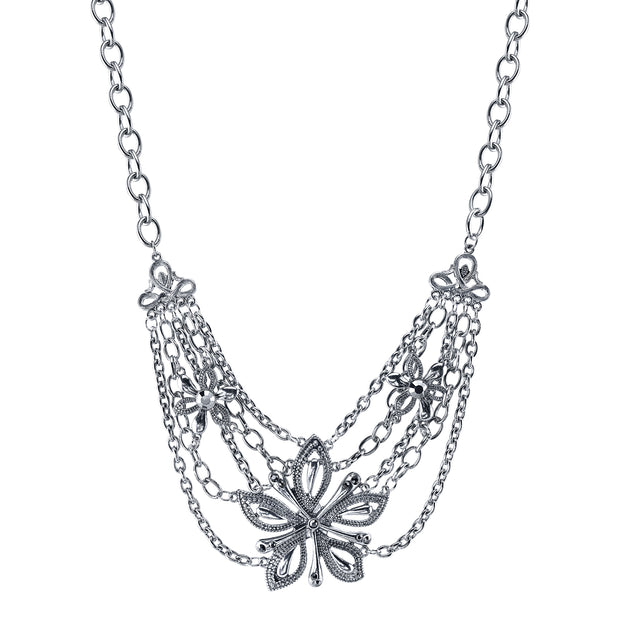 Silver-Tone Hematite-Color Flower Statement Necklace