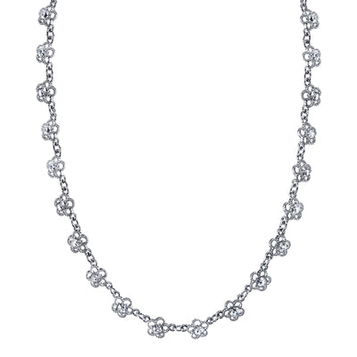 Silver-Tone Crystal Floral Collar Necklace 16 In Adj