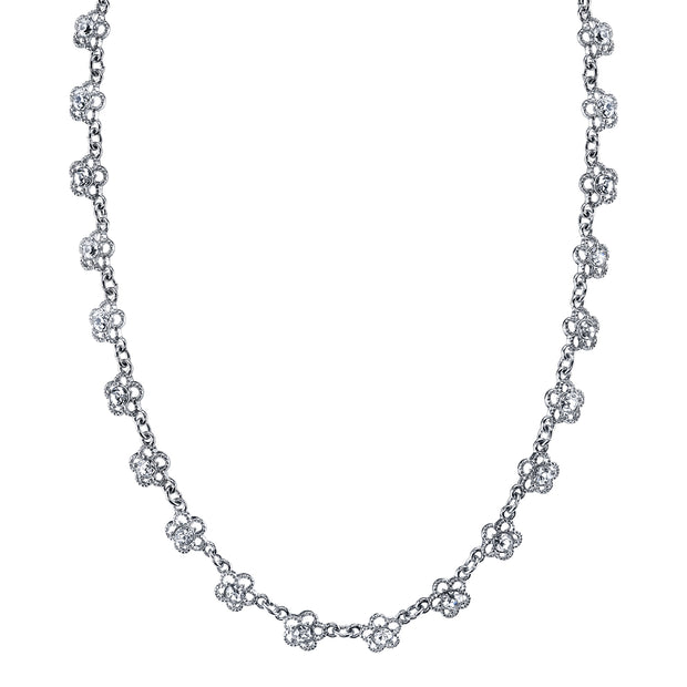 Silver-Tone Crystal Floral Collar Necklace 16 - 19 Inch Adjustable