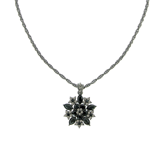 Jet/Black Diamond Flower Pendant Necklace 16 Adj.