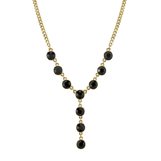 Gold-Tone Black Crystal Y-Necklace 16 In Adj