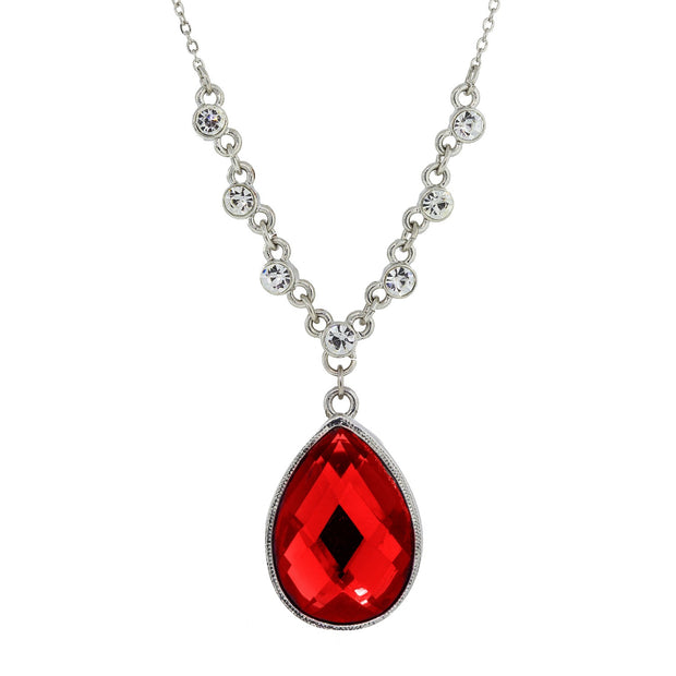 Red Silver Tone Teardrop Pendant Necklace 16   19 Inch Adjustable
