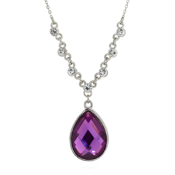 1928 Jewelry: 1928 Jewelry - Silver-Tone Amethyst Color Teardrop Pendant Necklace 16