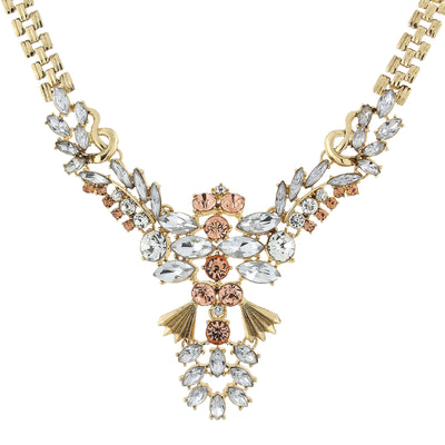 Gold-Tone Rose Pink, Peach And Crystal Statement Necklace 15.5 In Adj