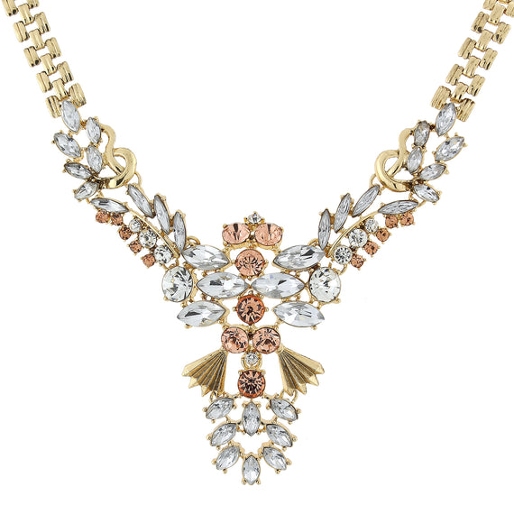 Fashion Jewelry - Gold Tone Rose Pink, Peach and Crystal Statement Necklace 15.5