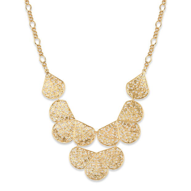 Gold-Tone Filigree Bib Necklace 16 - 19 Inch Adjustable