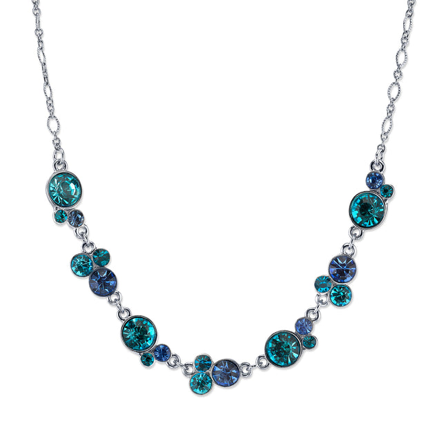 Silver Tone Blue And Aqua Cluster Necklace 15 In Adj