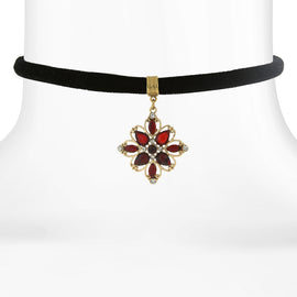 Black Velvet Choker with Crystal Flower Pendant Drop
