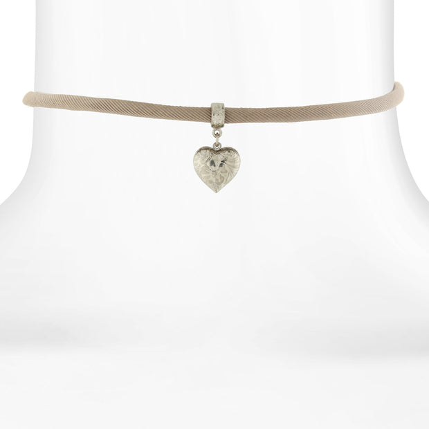 Tan Rope Choker with Silver-Tone Heart Drop Pendant 12 Adj.