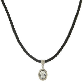 Black Rope Choker with Oval Crystal Drop Pendant 12 Adj.