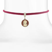 Purple Choker With Cameo Pendant Drop 12 In Adj