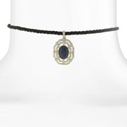 Black Rope Choker With Silver-Tone And Stone Pendant 12 In Adj