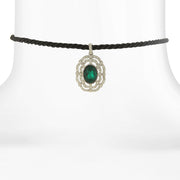 Black Rope Choker With Silver Tone And Color Stone Pendant Green