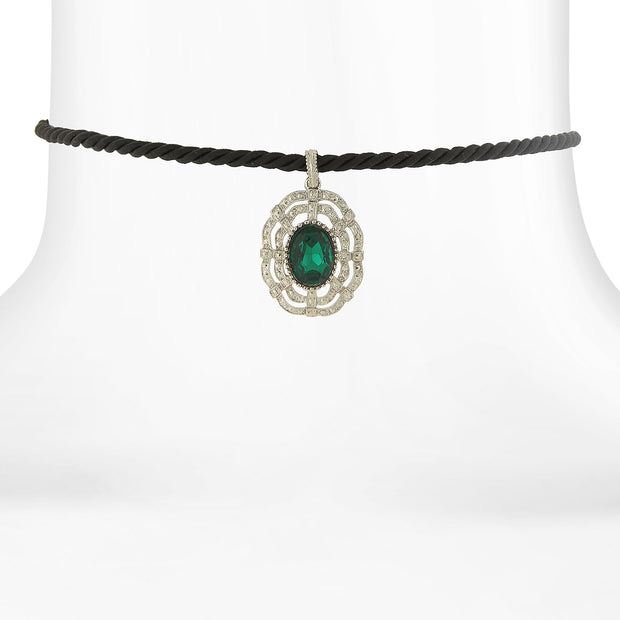 Black Rope Choker with Silver-tone and Color Stone Pendant GREEN
