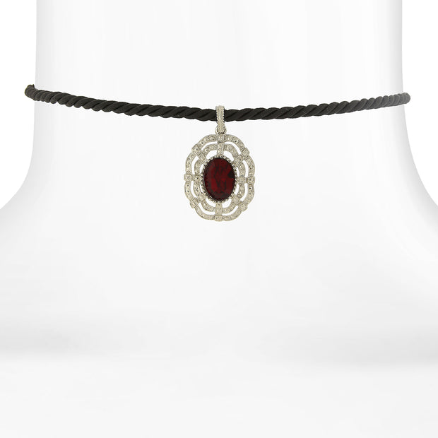 Black Rope Choker with Silver-tone and Color Stone Pendant RED
