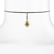 Black Choker With Gold-Tone Green And Crystal Accent Drop 14 In Adj