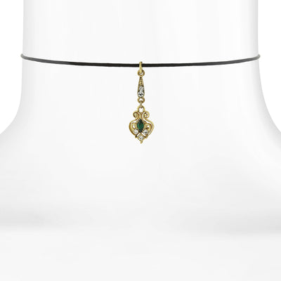 Black Choker With Gold Tone Green And Crystal Accent Drop 14 In Adj