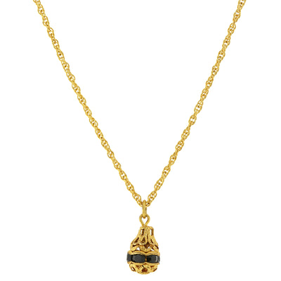 14K Gold-Dipped Black Trim Petite Egg Pendant Necklace 18 In