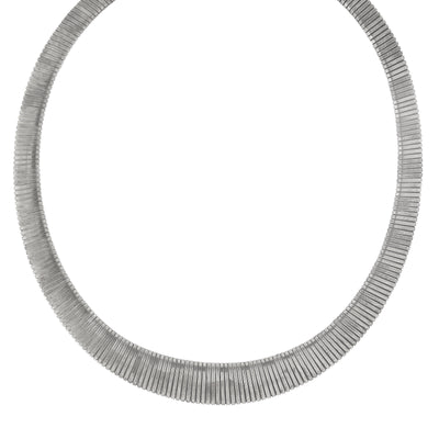 Silver Tone Collar Necklace 18 In Adj