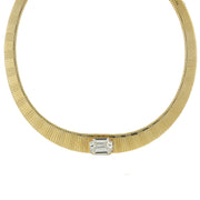 14K Gold Dipped Collar Necklace Made With Swarovski Crystal 18 In Adj