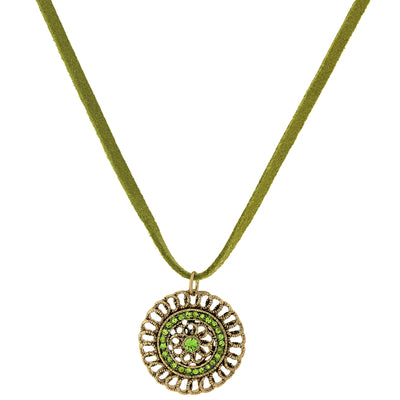 Green Velvet Choker Necklace With Gold-Tone Pendant