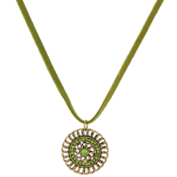 Green Velvet Choker Necklace With Gold Tone Pendant