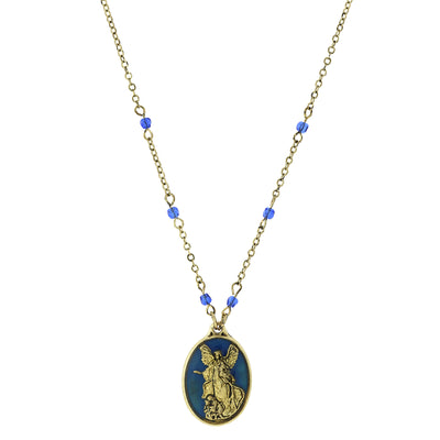 Brass Tone Angel Blue Oval Pendant Necklace Inscribed  Angels Protect Us