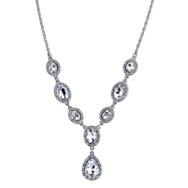 "1928 Jewelry: 1928 Jewelry - Silver-Tone Crystal Teardrop Y-Necklace 16""Adj."
