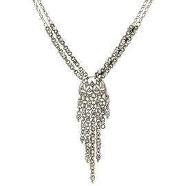 Silver tone Crystal Front Drop Statement Necklace