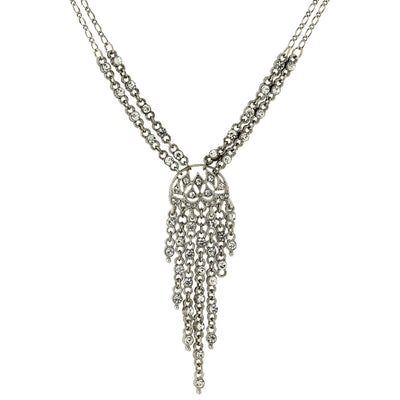 Silver-tone Crystal Front Drop Statement Necklace 15 Adj.