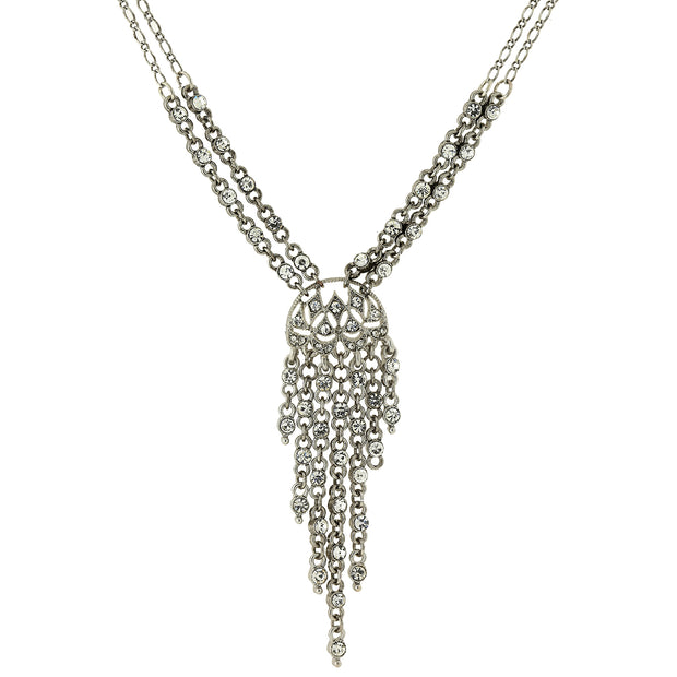 Silver Tone Crystal Front Drop Statement Necklace 15 In Adj