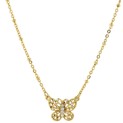 Gold Tone Crystal Accent Petite Filigree Butterfly Pendant Necklace 16   19 Inch Adjustable