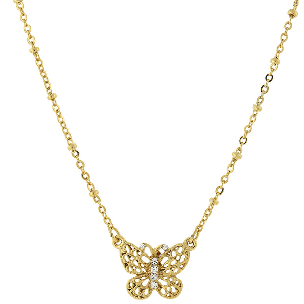 Gold Tone Crystal Accent Petite Filigree Butterfly Pendant Necklace 16 In Adj