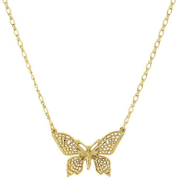 Gold Tone Filigree Butterfly Pendant Necklace 16 In Adj