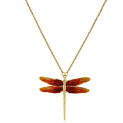 Gold-Tone Orange Enamel Dragonfly Pendant Necklace 16 - 19 Inch Adjustable