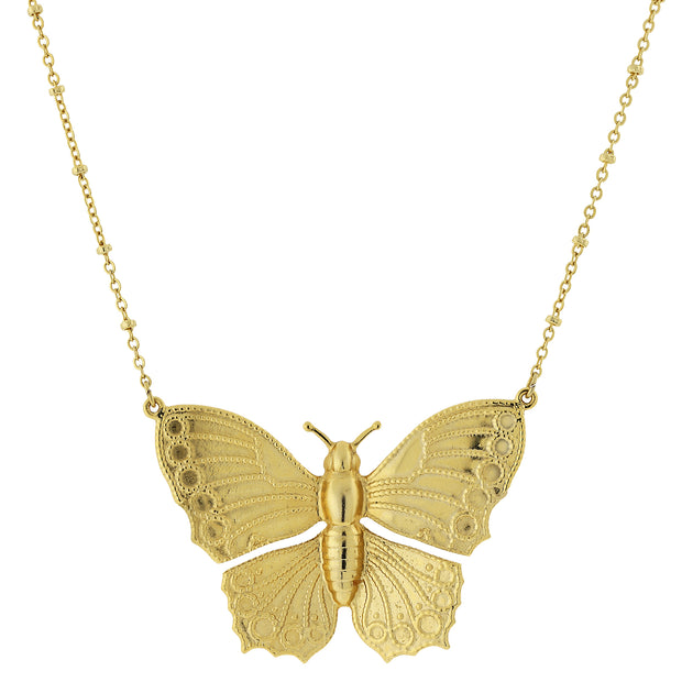 Gold Tone Statement Butterfly Necklace 16   19 Inch Adjustable