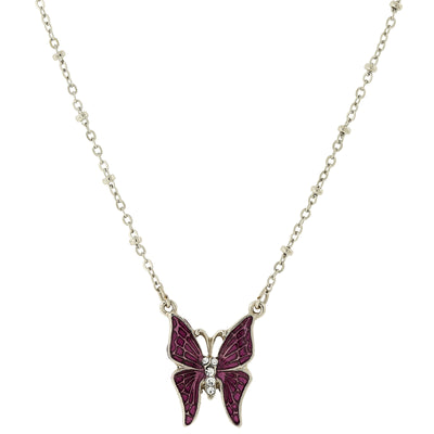 Silver Tone Purple Enamel And Crystal Accent Butterfly Necklace 16   19 Inch Adjustable