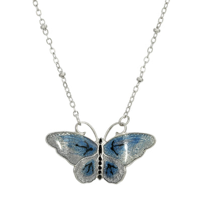 Blue Enamel Butterfly Necklace 16.5 - 19.5 Inch Adjustable